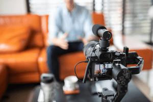 filmagem de uma palestra online