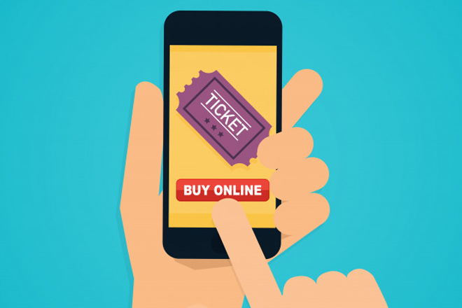 ilustração de celular sendo usado para venda de ingressos online