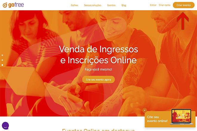 página inicial do site gofree